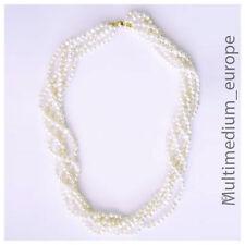 5-reihige Süßwasser Zucht Perlen Hals Kette mit Steckverschluß Perlenkette