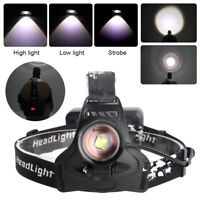 XHP50 LED Headlamp Rechargeable Headlight Zoomable Flashlight 18650 Head Torch