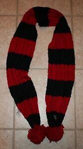 NWT Abercrombie Girls No Size Navy Blue & Red Striped Pom Pom Ball Knit Scarf