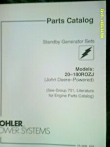 Kohler Standby Generator 20-180ROZJ (John Deere) 1992 Parts Catalog TP-5408