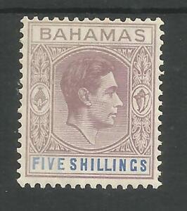BAHAMAS SG156 THE 1938 GVI 5/- LILAC & BLUE MNH CAT £170