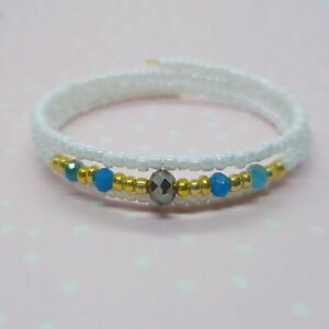Simple Bead Layering Bracelet ~ White Blue Purple Gold ~ Perfect for Summer
