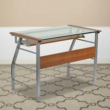Glass Computer Desk With Pull Out Keyboard Tray Bowed Front Frame Compact Size