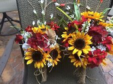 Wedding Flowers Bridal Bouquet decorations Sunflower cranberry red
