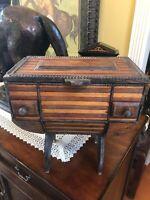 Large Antique Jewelry Sowing Keepsake Tramp Box Folk Art  Muliti Wood Decorative