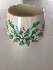 """Lenox Candle Holder """"Say It With Silk"""" Holly & Berries Pattern, Euc"""