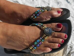 GRANDCO SANDALS BLACK TREASURE V-THONG BLING MULTI COLOR GEMSTONES Jeweled