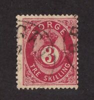 Norway stamp #18, used, 1872-75, Post Horn and Crown, SCV $35