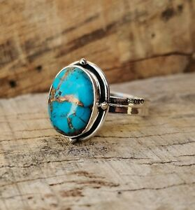 Copper Turquoise Band Ring 925 Sterling Silver Plated Handmade Ring Size 9 hh67