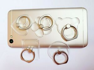 Universal 360 Rotating Transparent Cell Phone Finger Ring Stand Holder Simple
