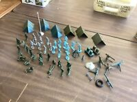 55 pc.WWII ARMY MEN American Navy Soldiers blue, grey, green artillery VINTAGE