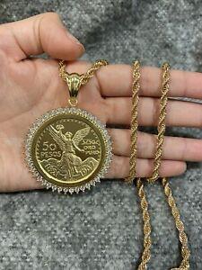 Gold PLATED Men's White CZ 50 Peso Mexican Coin CENTENARIO Pendant & Rope Chain