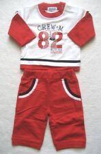 Babyset Jungen Pullover Hose Gr. 56 - 3 Monate rot weiß Jogginanzug Neugebornen