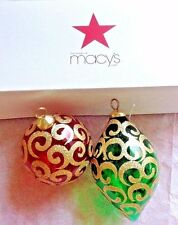 2 Vintage Xmas Green/Red/Gold Glass Ornaments from Macy's in Original Box
