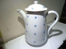 VINTAGE VEWAG ENAMEL COFFEE POT PITCHER WHITE BLUE POLKA DOTS GERMANY MARKED
