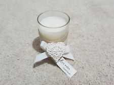 SHABBY CHIC CREAM RIBBON BOW HEART TRIM GLASS ROSE WATER SCENTED VOTIVE CANDLE