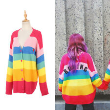 Knit Rainbow Stripe Cardigan Women Autumn Spring Fashion V neck Sweater Coat Top