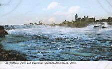 Minneapolis MN St. Anthony Falls and Exposition Building Vintage Postcard