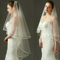 Wedding Bridal Veils White With Comb Bride Accessories Knee Length 175cm Tulle