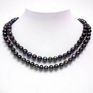 Lovely 41-inch chocolate pearl necklace on sterling silver clasp