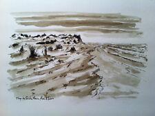 Camargue, Plage aux Saintes Maries de la Mer, encre de Chine, dessin original