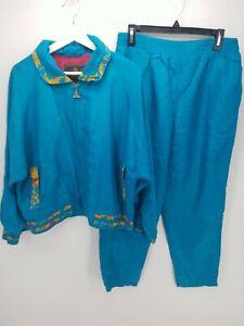 Casual Isle Windbreaker Track Suit Womens Blue Size PS Silk