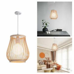 Bamboo Rattan Ceiling Hanging Lamp Shade Restaurant Woven Pendant Light Cover