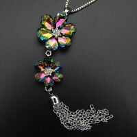 Betsey Johnson Multi-Color Crystal Flower Tassel Pendant Sweater Necklace