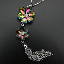 Betsey Johnson Multi-Color Crystal Flower Tassel Pendant Sweater Necklace