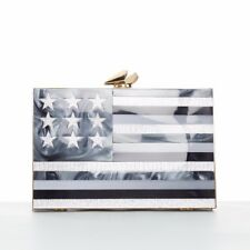 KOTUR Merrick American flag white metallic pearlescent perspex box clutch bag