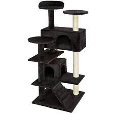 Arbre à chat griffoir grattoir avec 2 grottes geant 132cm noir