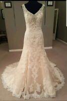 UK White Ivory Sleeveless Lace Beaded Neckline Mermaid Wedding Dress Size 6-18