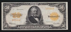 US 1922 $50 Gold Certificate Small S/N Mule FR 1200am VF-XF (432)