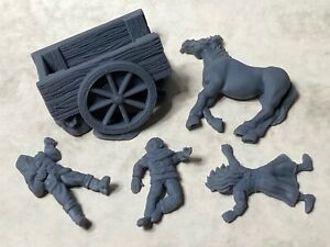 Broken cart and casualties terrain piece for tabletop & roleplaying games