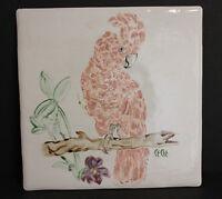 """Vintage Ceramic Tile Pink Parrot Feather Head Designer Signed 12"""" x 12"""" Artist"""