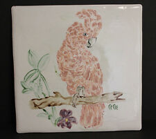 "Vintage Ceramic Tile Pink Parrot Feather Head Designer Signed 12"" x 12"" Artist"