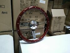 "15"" Billet Steering Wheel-Euro Wood Half Wrap, VW Adaptor & VW Horn Button"