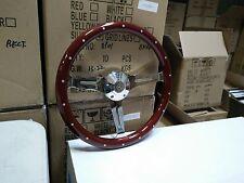 "15"" Billet Steering Wheel-Euro Wood Half Wrap, VW Adaptor & VW Horn Button"