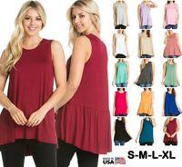 FINAL SALE W Tunic Tank Top Dress Sleeveless Scoop Neck Hi-low Shirt S M L XL
