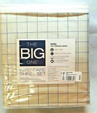 The Big One Easy Care 275 Thread Count Sheet Set King 4 Piece Set Tan Plaid