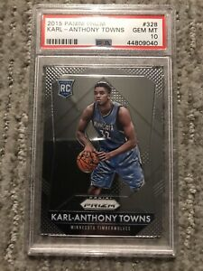 2015 Panini Prizm Karl-Anthony Towns ROOKIE RC #328 PSA 10 GEM MINT