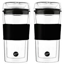 2 x cups - 20% off 2nd Hardened Glass Tea & Coffee traveller mug travel eco cup