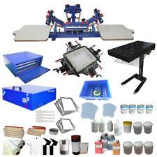 Full Set 4 Color Screen Printing Kit Press Printer & Exposure Unit /Flas Dryer