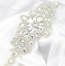 Rhinestone Trim Applique Motif Bridal Dress Shoulder Applique Iron / Sewing On