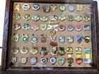 Desert Storm Pin Lot of 56 With Wooden Display Case Iraq War USA