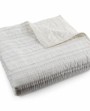 Hotel Collection Linen Fog Cream Stripe King Quilted Coverlet $360 DISPLAY