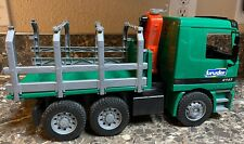 Bruder Mercedes Logging Truck 4143 Timber Crane Move-able Germany Toy Green Used