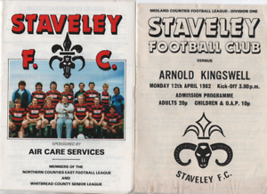 Staveley Works HOME programmes 1980's League & Cup Arnold Kingswell Long Eaton
