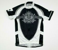Primal Black White Ace of Spades Mens Short Sleeve Cycling Jersey sz M