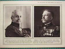 1915 WWI WW1 PRINT ~ GENERAL MAUNOURY WOUNDED BY SAME BULLET ~ GENERAL D'AMADE